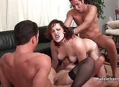 Exfiltrated double anal gangbang threesome passionate by a perverted old guy
