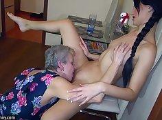 Bonded Granny Masturbating lesbian d