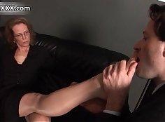 Slutty whore fucking her mature man