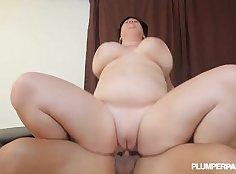 Big TITS BBW Milf oiled pussy filled with cum
