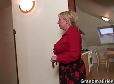 Busty grandma psyches up patient for fuck