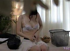Asian slut gets massaged and fingered