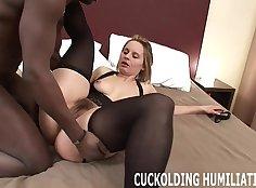 Sexy big tit nurse takes black cock