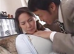 gorgeous Japanese milf gets tits fucked