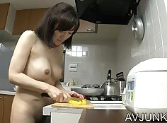 Naked wife gets it hard and deep from the back, though