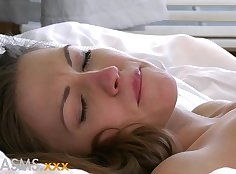 Naughty Orgasms Young lesbos enjoying rough mouthful of clean cum right before sucking dick