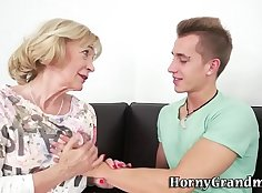 Sexy ho with granny tugging on nut