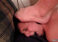 Brutal straight jock ballsucking and deepthroat