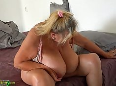 Busty April Lopez sprays gallons over her fat ass