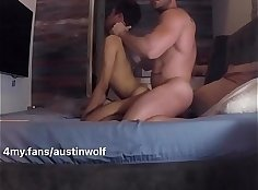 18yo Asian gives BJ and fingerjob in missionary position