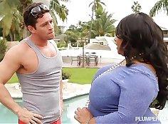 Busty Ebony Rides Fat White Guy