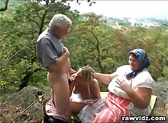 Blondie enjoying a hot outdoor threesome