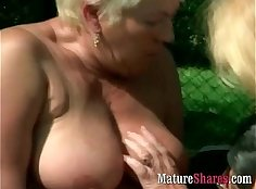 chubby granny is outdoors when she is getting fucked hard